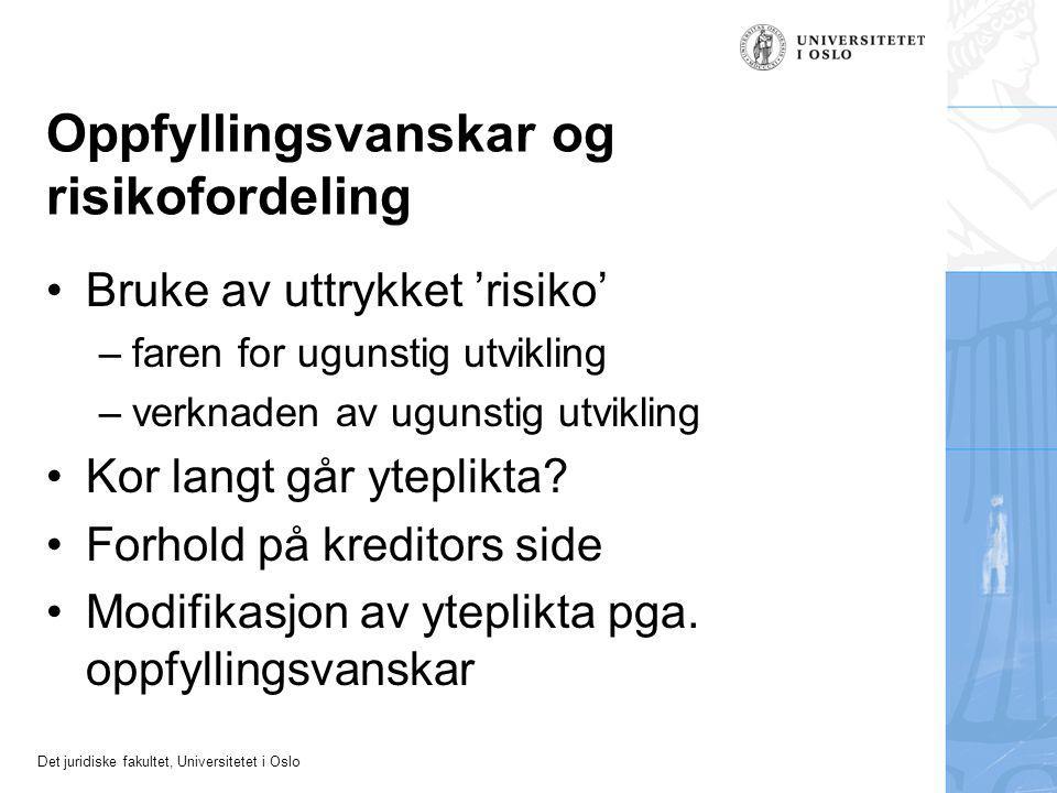 Det juridiske fakultet, Universitetet i Oslo Oppfyllingsvanskar og risikofordeling Bruke av uttrykket 'risiko' –faren for ugunstig utvikling –verknaden av ugunstig utvikling Kor langt går yteplikta.