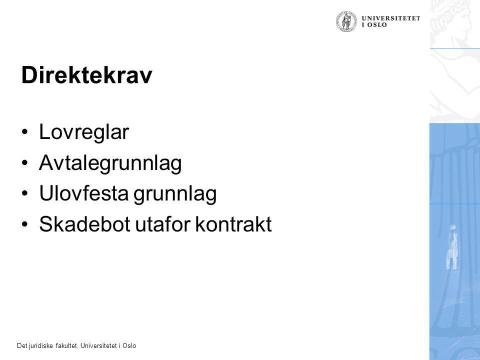 Det juridiske fakultet, Universitetet i Oslo Direktekrav Lovreglar Avtalegrunnlag Ulovfesta grunnlag Skadebot utafor kontrakt