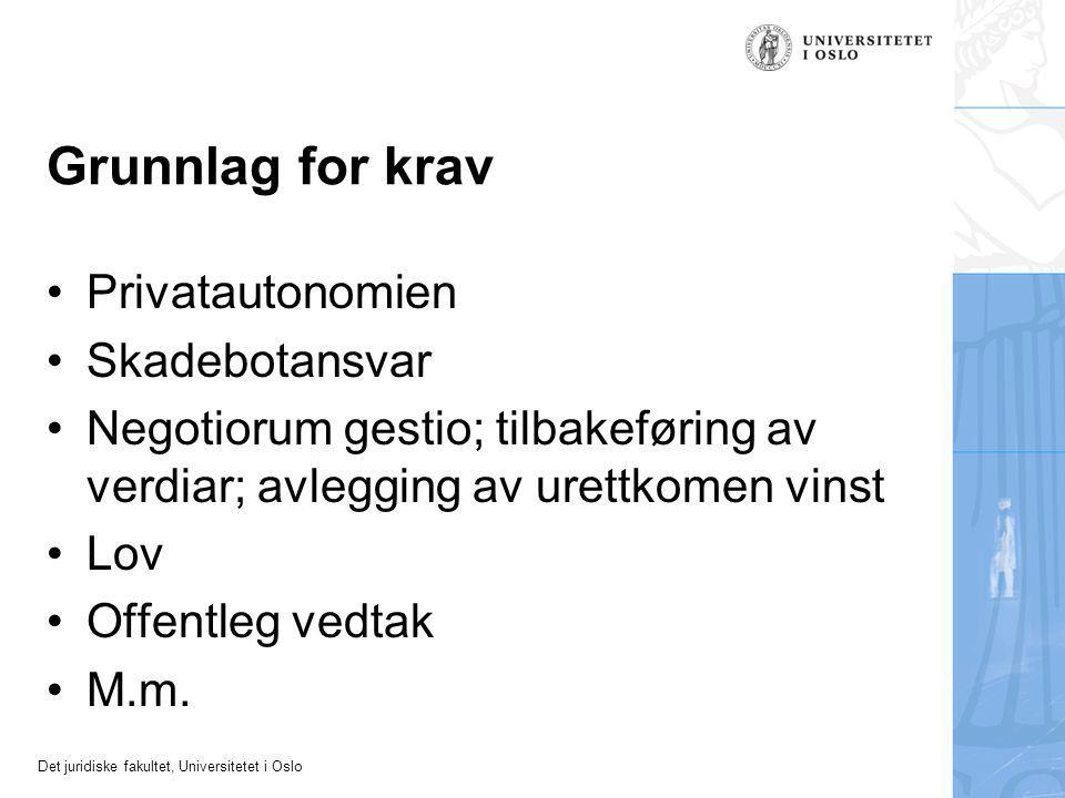 Det juridiske fakultet, Universitetet i Oslo Grunnlag for krav Privatautonomien Skadebotansvar Negotiorum gestio; tilbakeføring av verdiar; avlegging av urettkomen vinst Lov Offentleg vedtak M.m.