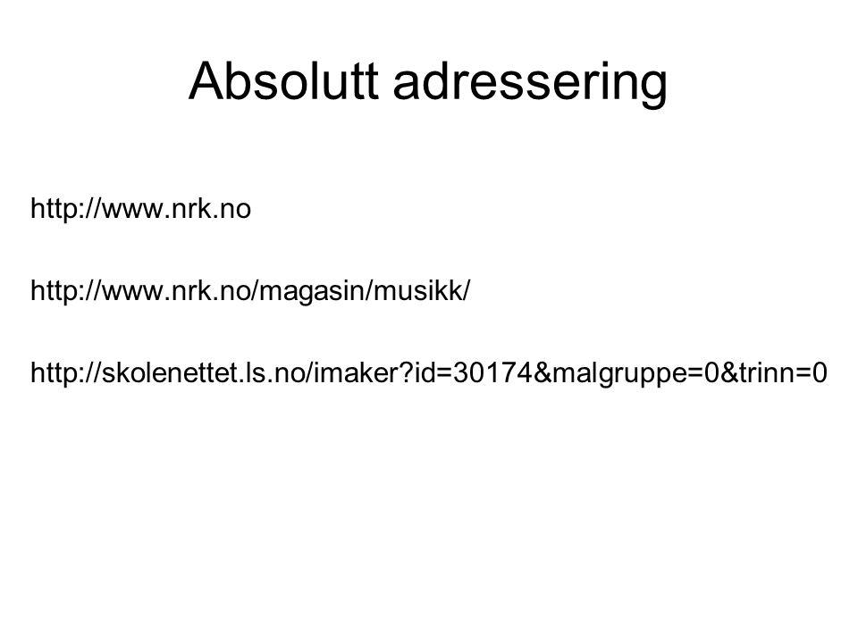 Absolutt adressering http://www.nrk.no http://www.nrk.no/magasin/musikk/ http://skolenettet.ls.no/imaker?id=30174&malgruppe=0&trinn=0