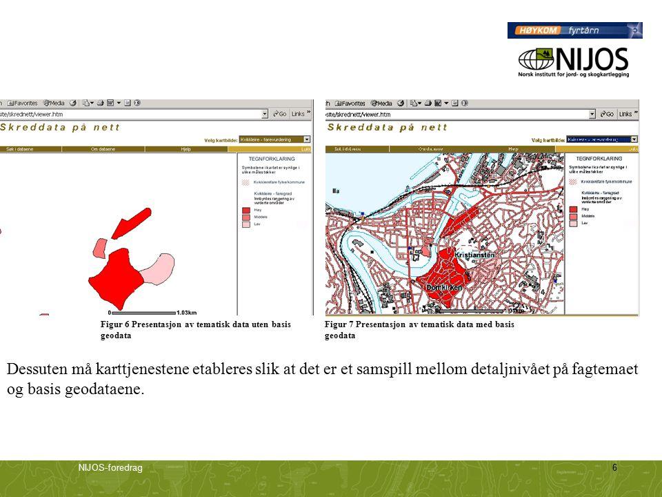NIJOS-foredrag6 Figur 6 Presentasjon av tematisk data uten basis geodata Figur 7 Presentasjon av tematisk data med basis geodata Dessuten må karttjenestene etableres slik at det er et samspill mellom detaljnivået på fagtemaet og basis geodataene.