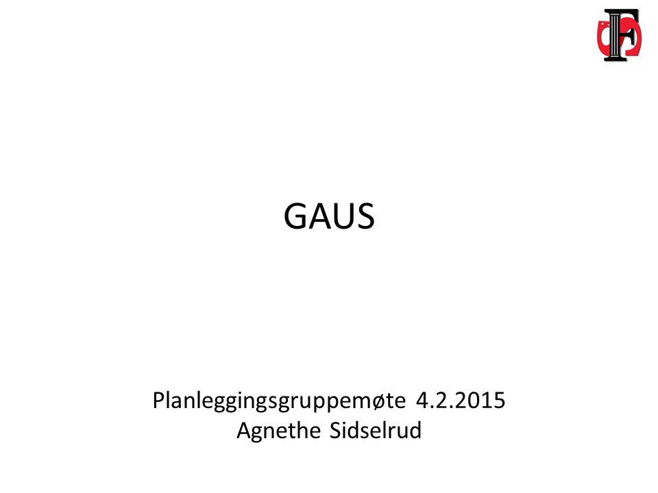 GAUS Planleggingsgruppemøte 4.2.2015 Agnethe Sidselrud