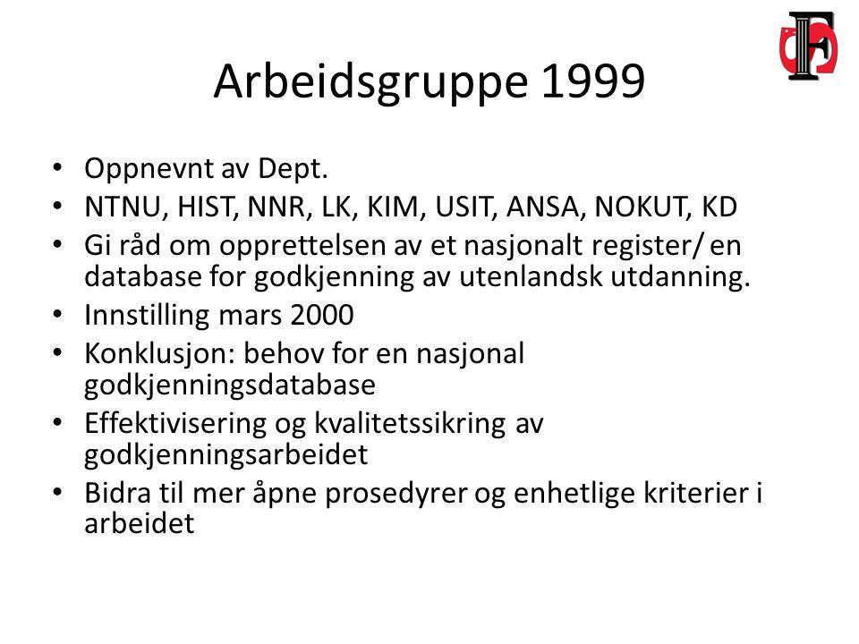 Arbeidsgruppe 1999 Oppnevnt av Dept.