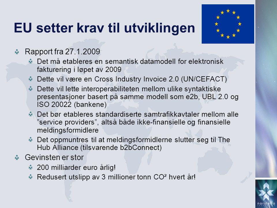 EU setter krav til utviklingen Rapport fra 27.1.2009 Det må etableres en semantisk datamodell for elektronisk fakturering i løpet av 2009 Dette vil være en Cross Industry Invoice 2.0 (UN/CEFACT) Dette vil lette interoperabiliteten mellom ulike syntaktiske presentasjoner basert på samme modell som e2b, UBL 2.0 og ISO 20022 (bankene) Det bør etableres standardiserte samtrafikkavtaler mellom alle service providers , altså både ikke-finansielle og finansielle meldingsformidlere Det oppmuntres til at meldingsformidlerne slutter seg til The Hub Alliance (tilsvarende b2bConnect) Gevinsten er stor 200 milliarder euro årlig.