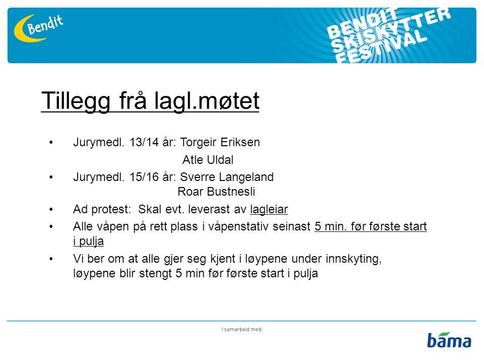 Tillegg frå lagl.møtet Jurymedl. 13/14 år: Torgeir Eriksen Atle Uldal Jurymedl.
