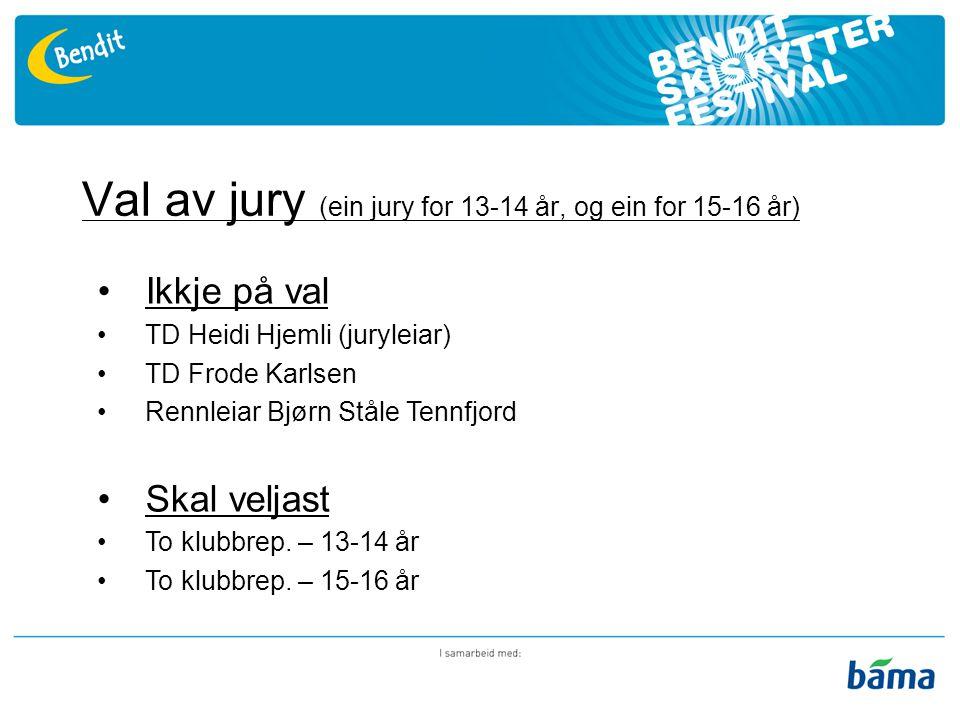Val av jury (ein jury for 13-14 år, og ein for 15-16 år) Ikkje på val TD Heidi Hjemli (juryleiar) TD Frode Karlsen Rennleiar Bjørn Ståle Tennfjord Skal veljast To klubbrep.