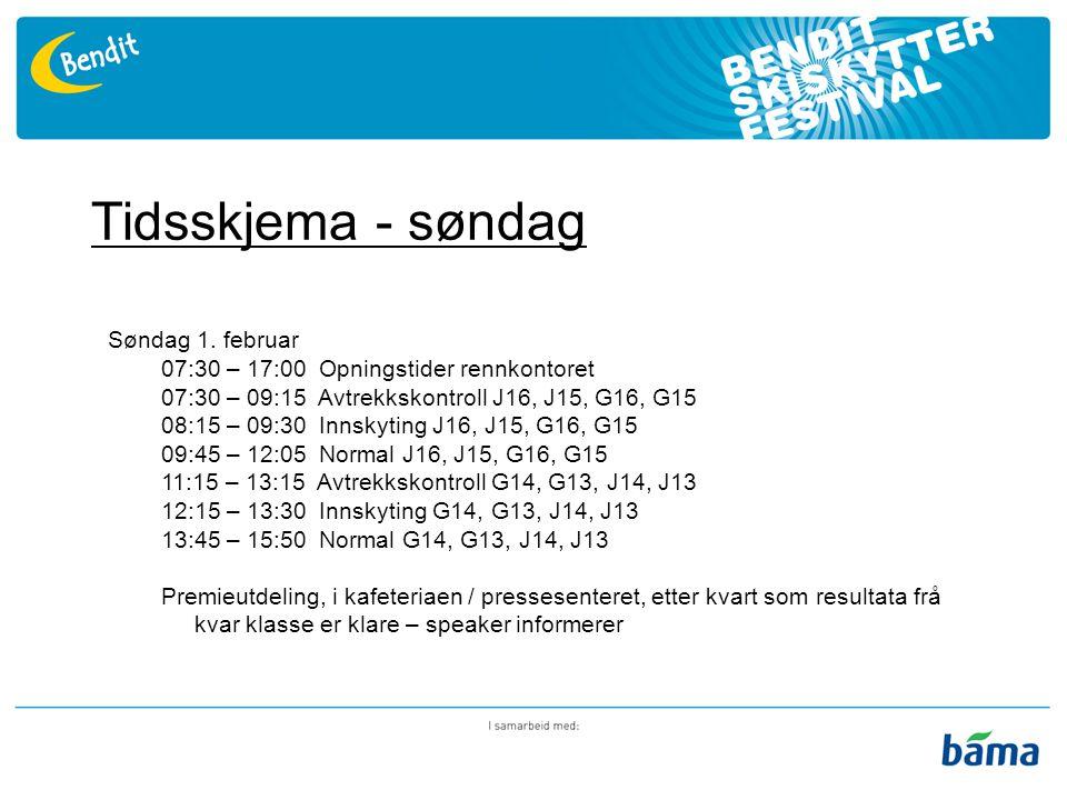 Rennkontor I arrangementshuset, rett ved målgang Opningstid 07.30 – 17.00 begge dagar Henting av startnummer – to klubbposar pr.