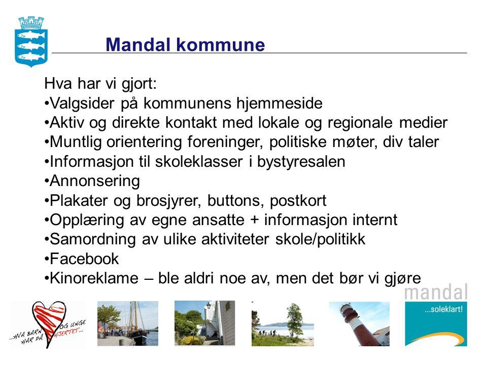 Hva har vi gjort: Valgsider på kommunens hjemmeside Aktiv og direkte kontakt med lokale og regionale medier Muntlig orientering foreninger, politiske