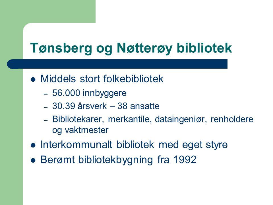 Tønsberg og Nøtterøy bibliotek Middels stort folkebibliotek – 56.000 innbyggere – 30.39 årsverk – 38 ansatte – Bibliotekarer, merkantile, dataingeniør, renholdere og vaktmester Interkommunalt bibliotek med eget styre Berømt bibliotekbygning fra 1992