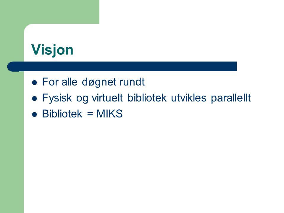 Visjon For alle døgnet rundt Fysisk og virtuelt bibliotek utvikles parallellt Bibliotek = MIKS