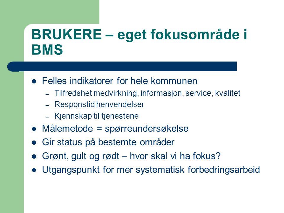 BRUKERE – eget fokusområde i BMS Felles indikatorer for hele kommunen – Tilfredshet medvirkning, informasjon, service, kvalitet – Responstid henvendel