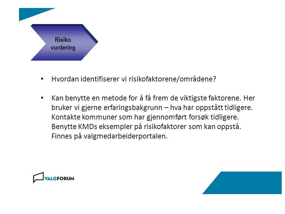 Metode: Risikohåndteringsplanen lages ved hjelp av mal Planen skal omfatte: Beskrivelse av risikofaktorene Vurdering av hvor sannsynlig det er at den inntreffer Vurdering av skadevirkning/konsekvens dersom forholdet inntreffer Vurdering av prosjektets mulighet til å påvirke forholdet Beskrivelse av tiltak for håndtere risikofaktoren Ansvarlig for gjennomføring av tiltaket Frist Ferdigstillelsesgrad (status fremdrift) Risiko planlegging
