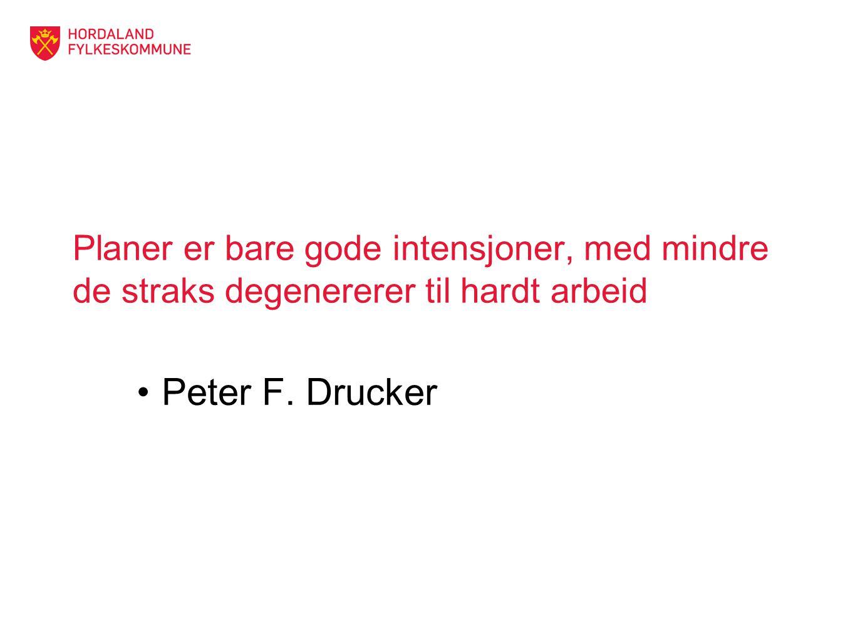 Planer er bare gode intensjoner, med mindre de straks degenererer til hardt arbeid Peter F. Drucker