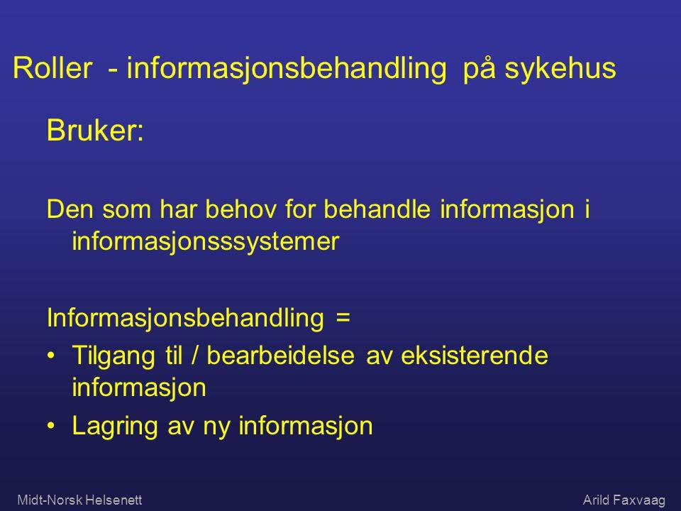 Midt-Norsk HelsenettArild Faxvaag Roller - informasjonsbehandling på sykehus Bruker: Den som har behov for behandle informasjon i informasjonsssysteme