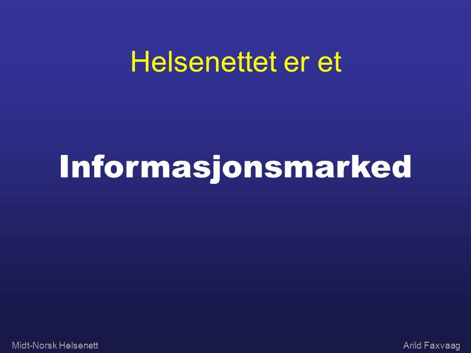 Midt-Norsk HelsenettArild Faxvaag Helsenettet er et Informasjonsmarked