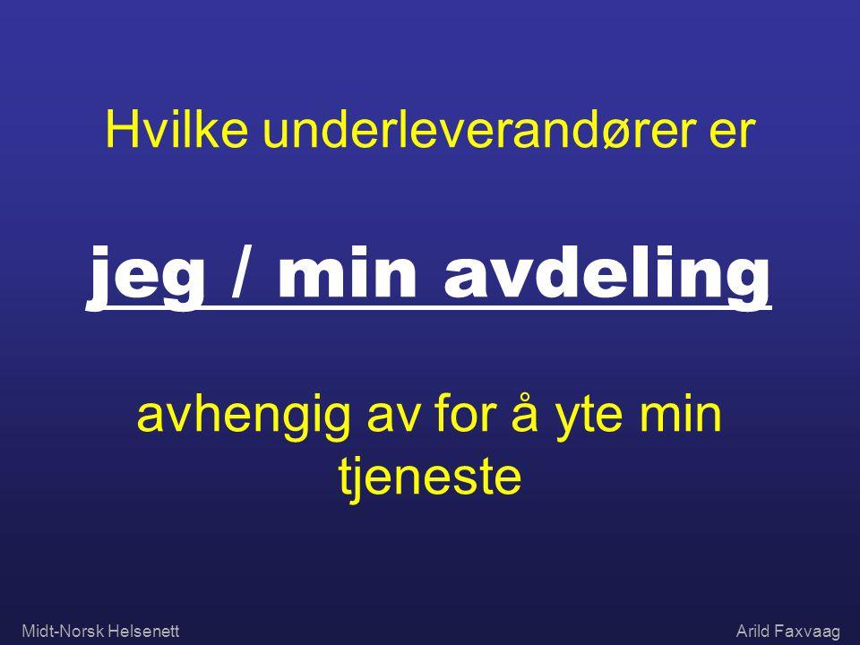 Midt-Norsk HelsenettArild Faxvaag Hvilke underleverandører er jeg / min avdeling avhengig av for å yte min tjeneste
