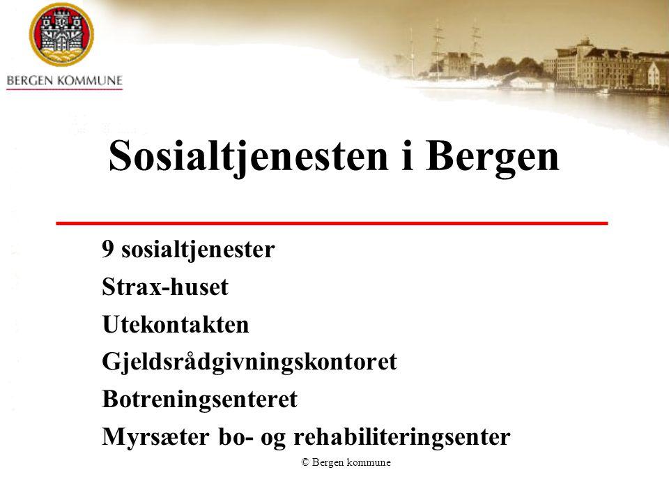 © Bergen kommune Sosialtjenesten i Bergen 9 sosialtjenester Strax-huset Utekontakten Gjeldsrådgivningskontoret Botreningsenteret Myrsæter bo- og rehabiliteringsenter