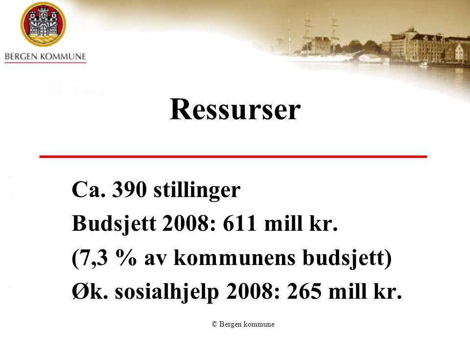 © Bergen kommune Brukere av sosialtjenesten 2007: 7150 sosialhjelpsmottakere 1064 i aldersgruppen 18 - 24 56 % er menn, 44 % kvinner 3029 barn forsørges 18 % er utenlandske statborgere