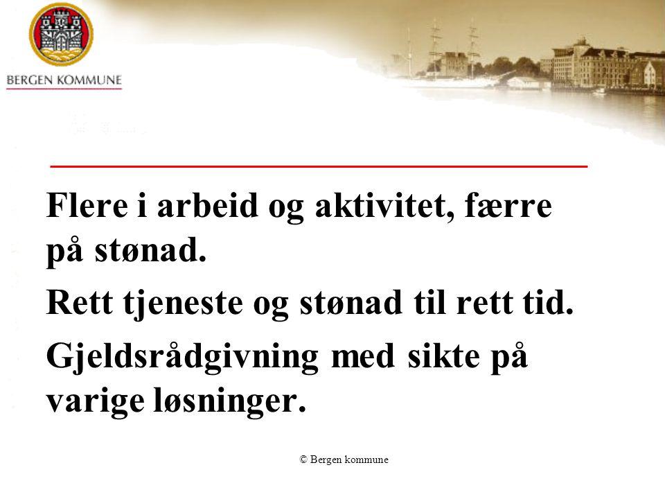 © Bergen kommune Brukerne skal oppleve at de blir tatt med i utformingen av tjenestetilbudet, trygghet på korrekt saksbehandling og ivaretakelse av rettsikkerhet.