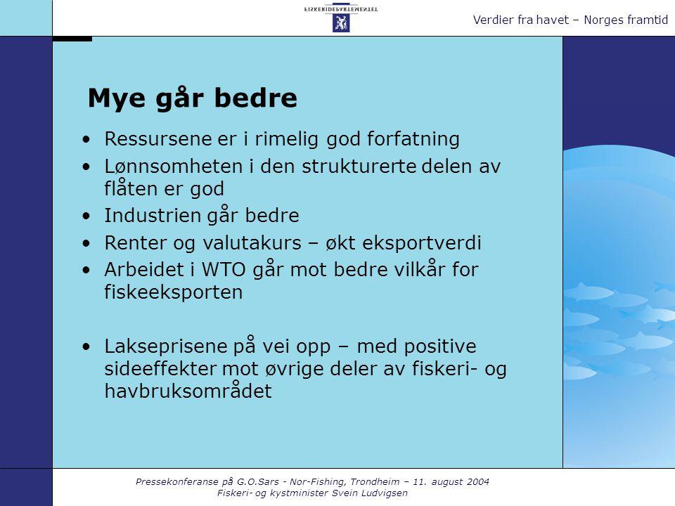 Pressekonferanse på G.O.Sars - Nor-Fishing, Trondheim – 11. august 2004 Fiskeri- og kystminister Svein Ludvigsen Verdier fra havet – Norges framtid My