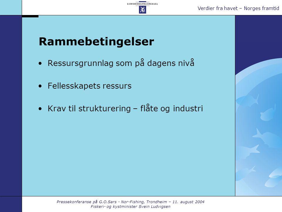 Pressekonferanse på G.O.Sars - Nor-Fishing, Trondheim – 11. august 2004 Fiskeri- og kystminister Svein Ludvigsen Verdier fra havet – Norges framtid Ra