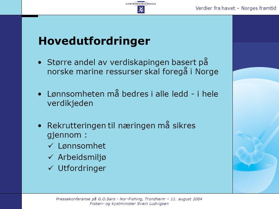 Pressekonferanse på G.O.Sars - Nor-Fishing, Trondheim – 11. august 2004 Fiskeri- og kystminister Svein Ludvigsen Verdier fra havet – Norges framtid Ho