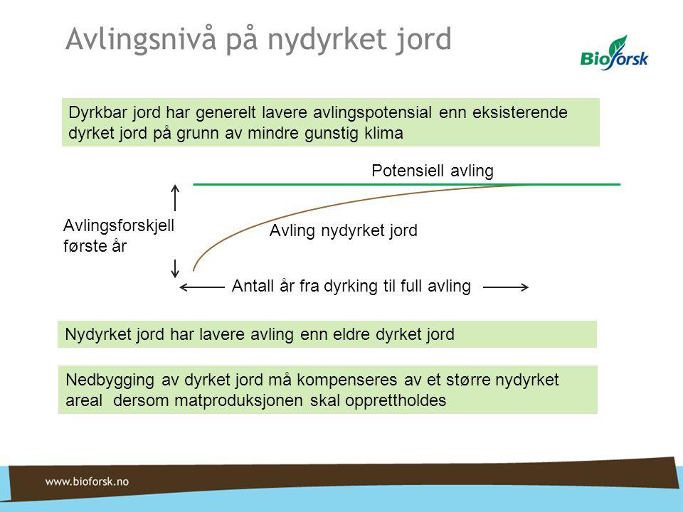 Potensiell avling Avling nydyrket jord Antall år fra dyrking til full avling Avlingsforskjell første år Avlingsnivå på nydyrket jord Dyrkbar jord har