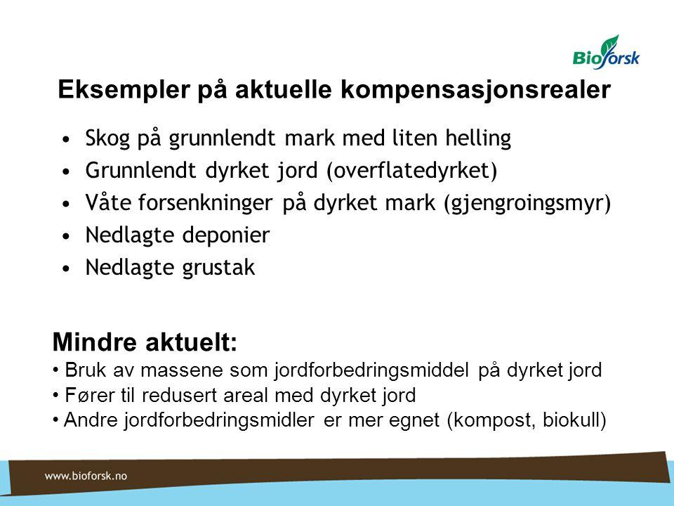 Eksempler på aktuelle kompensasjonsrealer Skog på grunnlendt mark med liten helling Grunnlendt dyrket jord (overflatedyrket) Våte forsenkninger på dyr