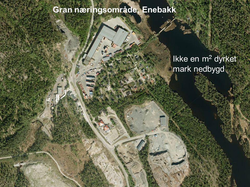 Gran næringsområde, Enebakk Ikke en m 2 dyrket mark nedbygd