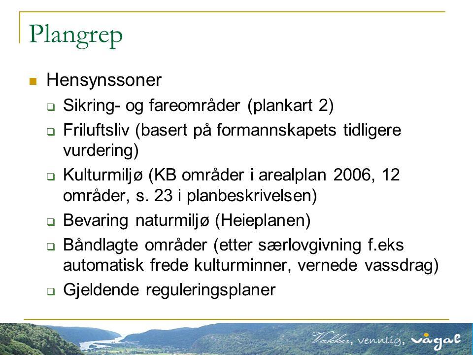 Plangrep Hensynssoner  Sikring- og fareområder (plankart 2)  Friluftsliv (basert på formannskapets tidligere vurdering)  Kulturmiljø (KB områder i arealplan 2006, 12 områder, s.