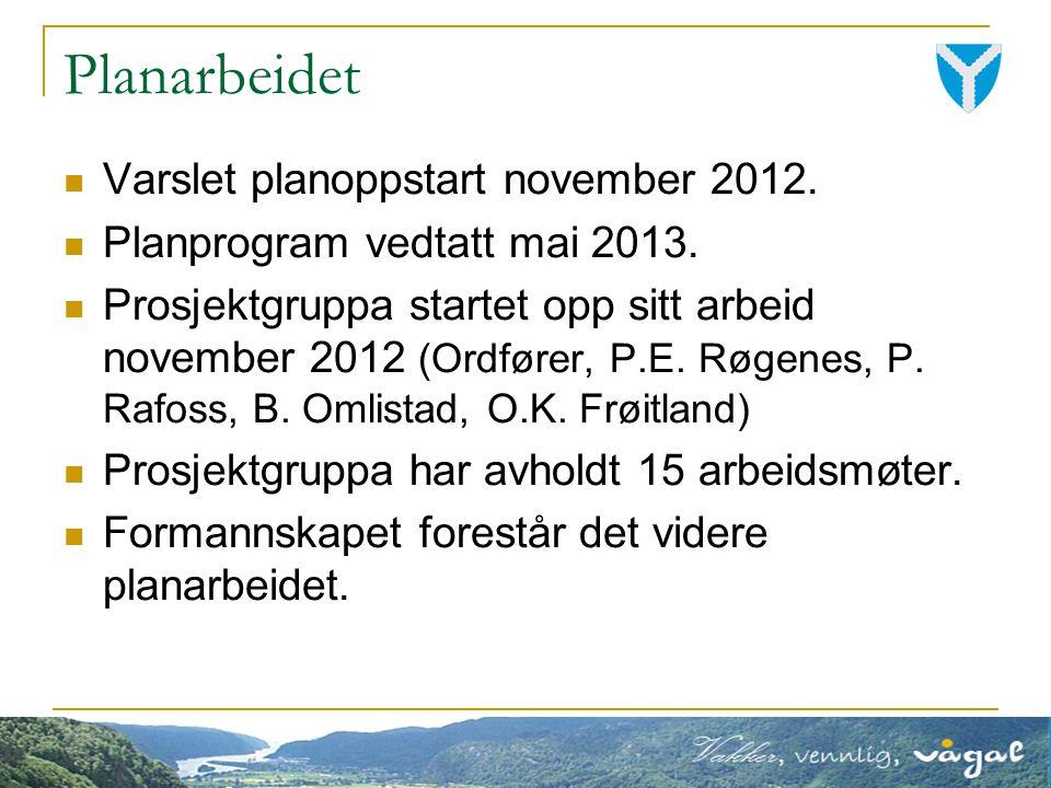 Varslet planoppstart november 2012. Planprogram vedtatt mai 2013.