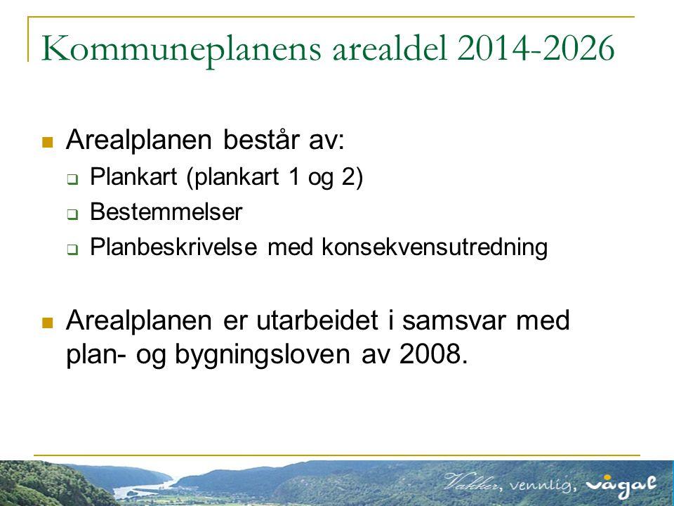 Kommuneplanens arealdel 2014-2026 Arealplanen består av:  Plankart (plankart 1 og 2)  Bestemmelser  Planbeskrivelse med konsekvensutredning Arealplanen er utarbeidet i samsvar med plan- og bygningsloven av 2008.
