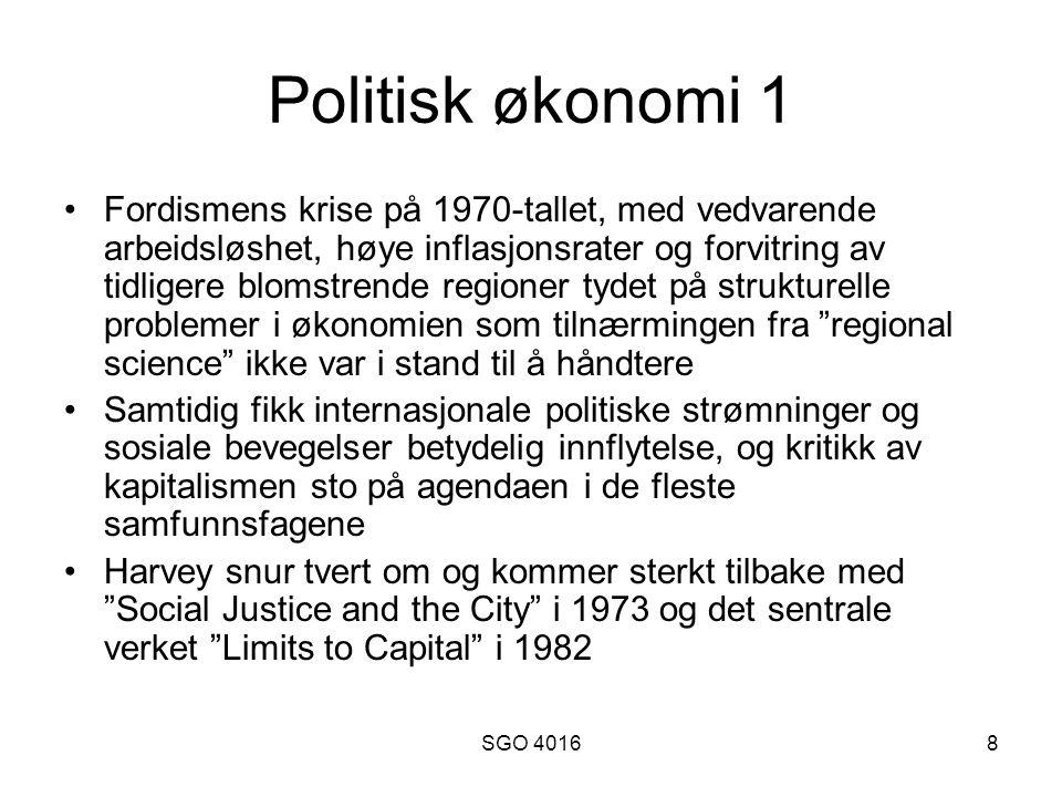 SGO 40169 Politisk økonomi 2 Sterk betoning av to grunnleggende motsetninger i den kapitalistiske produksjonsmåte: kapital-kapital-relasjonen (kapitalistisk konkurranse mellom enkeltkapitaler) og kapital- arbeid-relasjonen (klassekamp).