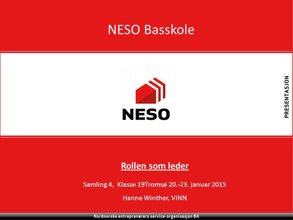 NESO Basskole Rollen som leder Samling 4, Klasse 19Tromsø 20.-23. januar 2015 Hanne Winther, VINN