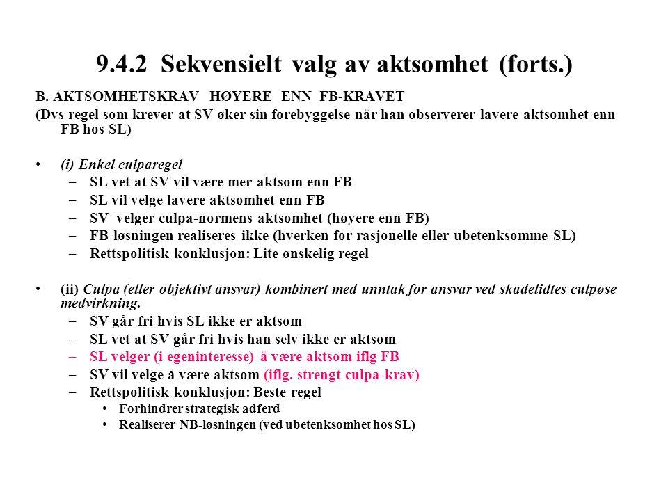 9.4.2 Sekvensielt valg av aktsomhet (forts.) B.
