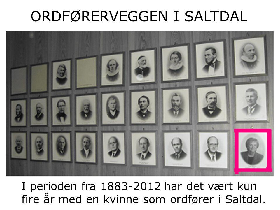 I perioden fra 1883-2012 har det vært kun fire år med en kvinne som ordfører i Saltdal.
