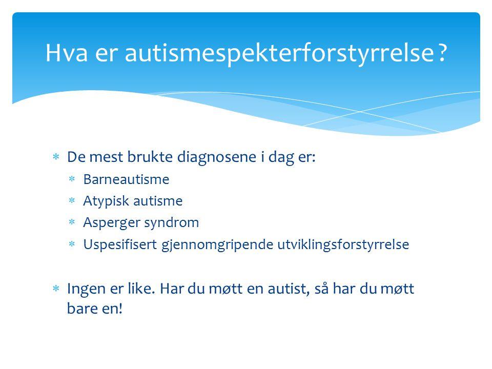  De mest brukte diagnosene i dag er:  Barneautisme  Atypisk autisme  Asperger syndrom  Uspesifisert gjennomgripende utviklingsforstyrrelse  Ingen er like.