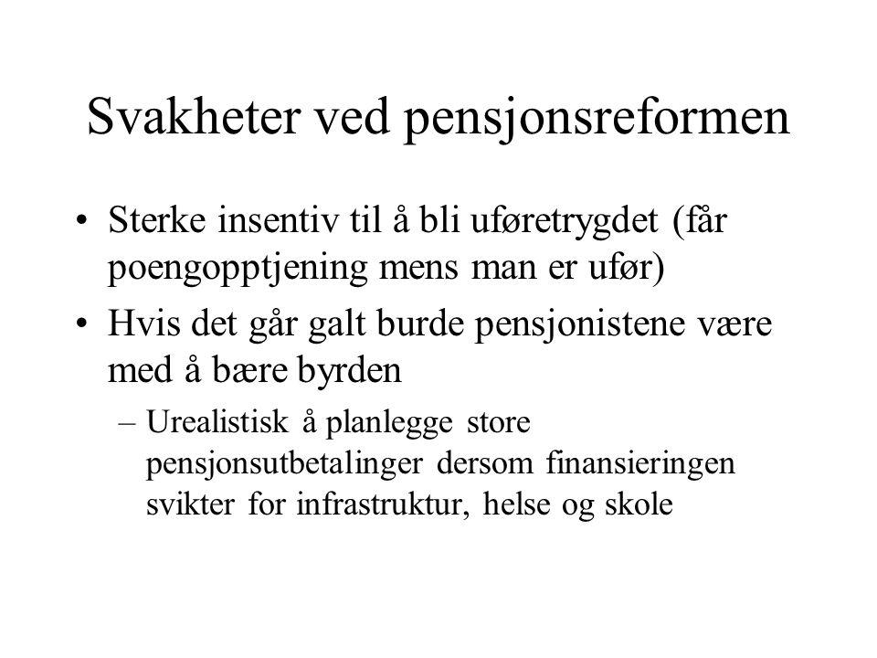 Svakheter ved pensjonsreformen Sterke insentiv til å bli uføretrygdet (får poengopptjening mens man er ufør) Hvis det går galt burde pensjonistene vær