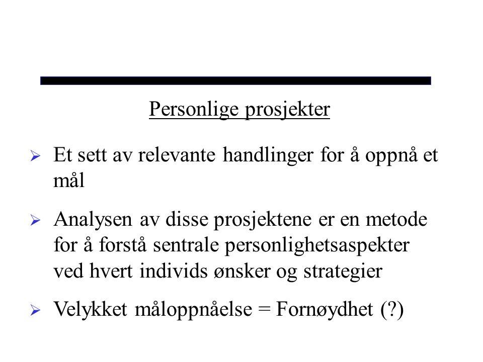 Personlige prosjekter  Et sett av relevante handlinger for å oppnå et mål  Analysen av disse prosjektene er en metode for å forstå sentrale personlighetsaspekter ved hvert individs ønsker og strategier  Velykket måloppnåelse = Fornøydhet (?)