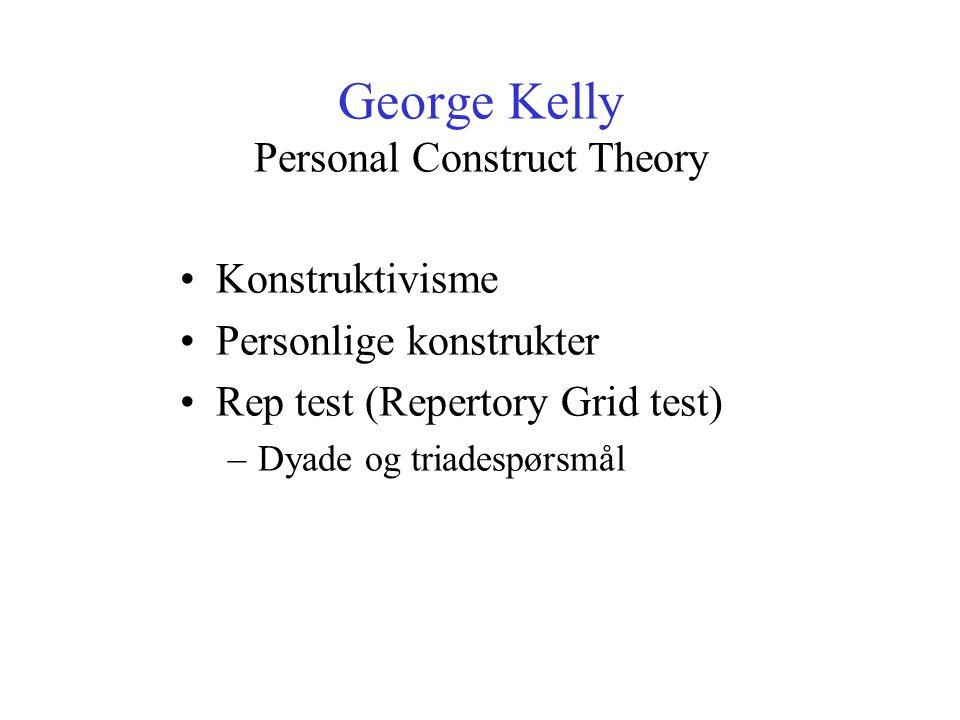 George Kelly Personal Construct Theory Konstruktivisme Personlige konstrukter Rep test (Repertory Grid test) –Dyade og triadespørsmål
