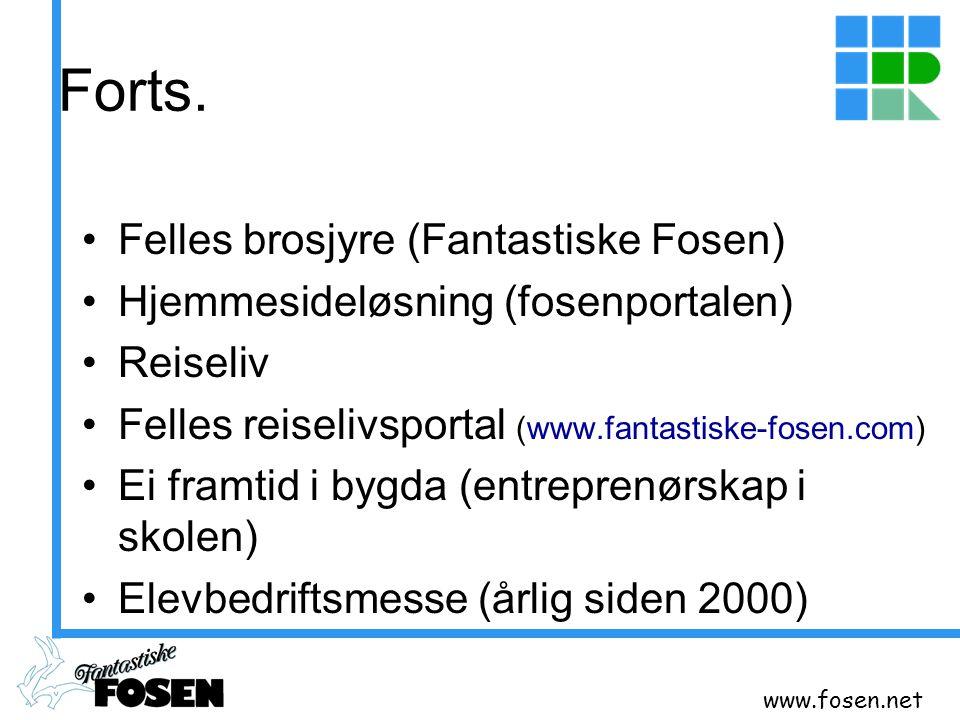 www.fosen.net Forts. Felles brosjyre (Fantastiske Fosen) Hjemmesideløsning (fosenportalen) Reiseliv Felles reiselivsportal (www.fantastiske-fosen.com)