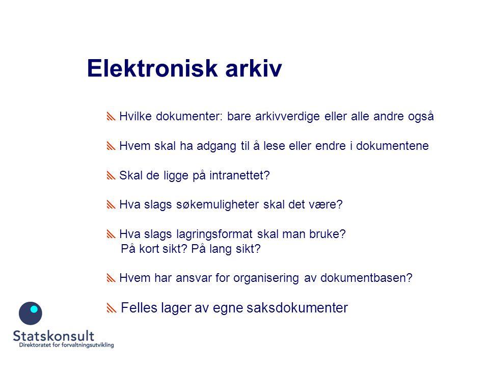 Elektronisk arkiv  Hvilke dokumenter: bare arkivverdige eller alle andre også  Hvem skal ha adgang til å lese eller endre i dokumentene  Skal de ligge på intranettet.