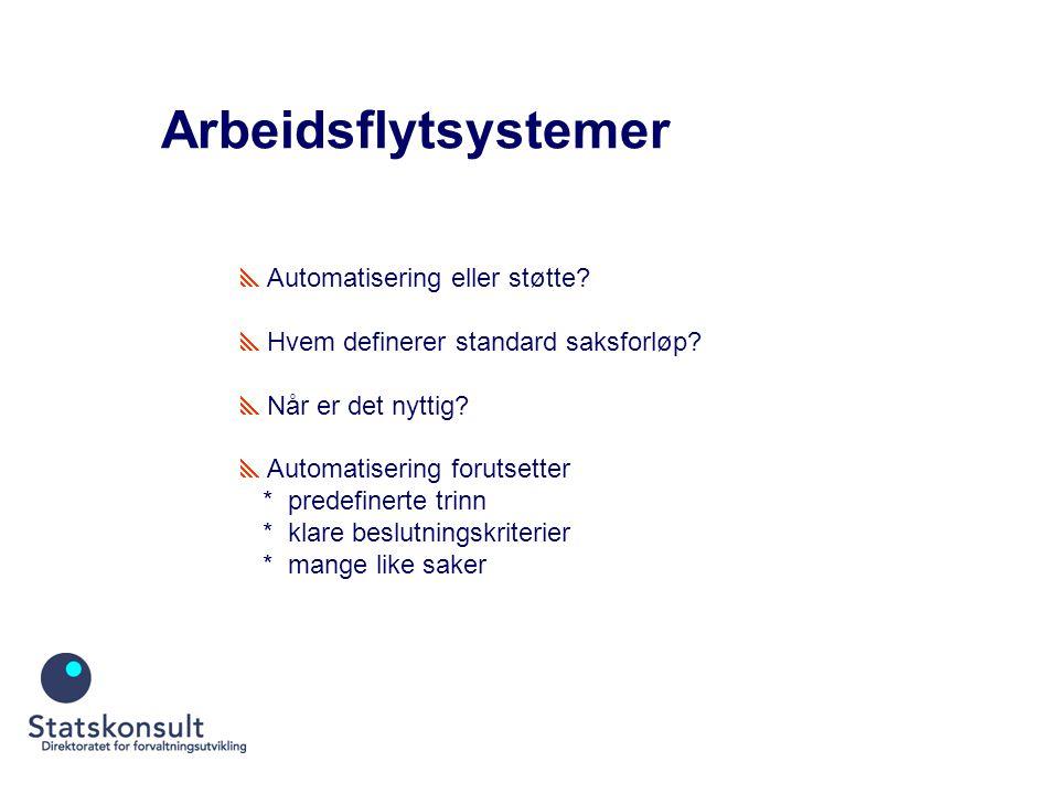 Arbeidsflytsystemer  Automatisering eller støtte.