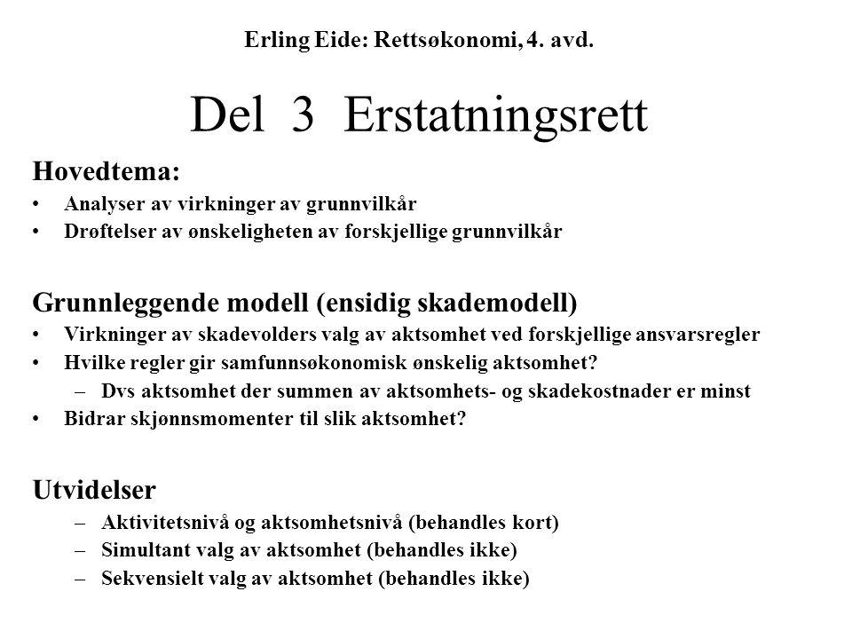 Erling Eide: Rettsøkonomi, 4. avd. Del 3 Erstatningsrett Hovedtema: Analyser av virkninger av grunnvilkår Drøftelser av ønskeligheten av forskjellige