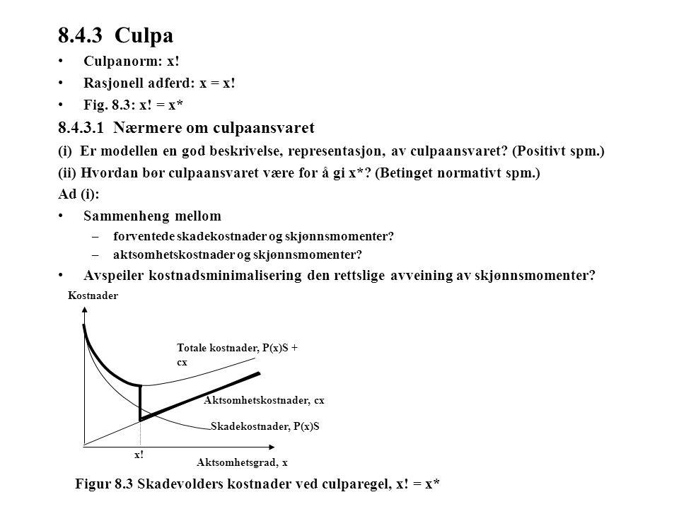 8.4.3 Culpa Culpanorm: x! Rasjonell adferd: x = x! Fig. 8.3: x! = x* 8.4.3.1 Nærmere om culpaansvaret (i) Er modellen en god beskrivelse, representasj