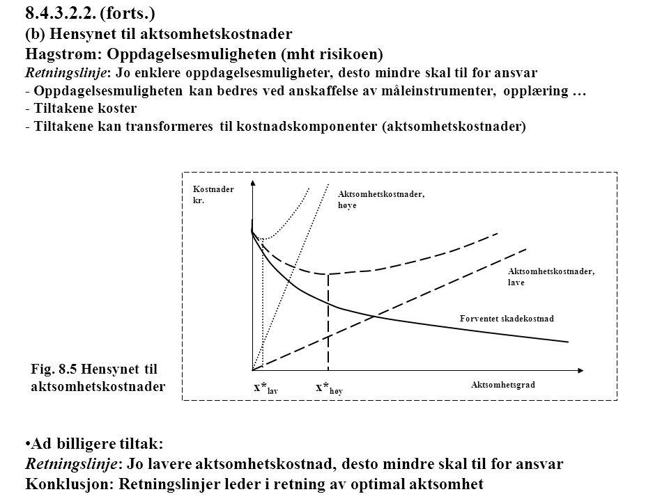 8.4.3.2.2. (forts.) (b) Hensynet til aktsomhetskostnader Hagstrøm: Oppdagelsesmuligheten (mht risikoen) Retningslinje: Jo enklere oppdagelsesmulighete