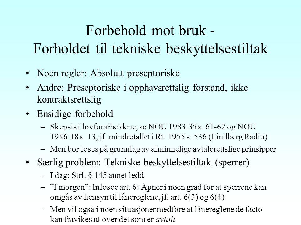 """Avtalelisenser Betinget og begrenset tvangslisens To typer avtalelisenser 1""""NRK-avtalelisensen"""", åvl. § 30 Pdes.: Forutsetter avtale med representativ"""