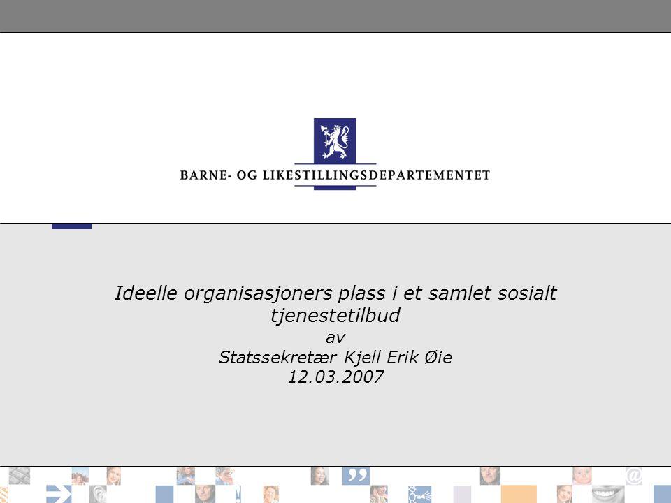 Ideelle organisasjoners plass i et samlet sosialt tjenestetilbud av Statssekretær Kjell Erik Øie 12.03.2007
