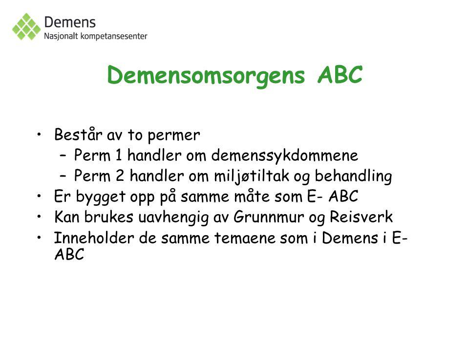 Demensomsorgens ABC Består av to permer –Perm 1 handler om demenssykdommene –Perm 2 handler om miljøtiltak og behandling Er bygget opp på samme måte som E- ABC Kan brukes uavhengig av Grunnmur og Reisverk Inneholder de samme temaene som i Demens i E- ABC