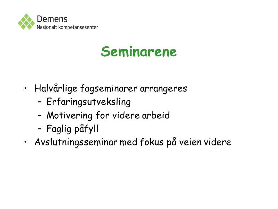 Seminarene Halvårlige fagseminarer arrangeres –Erfaringsutveksling –Motivering for videre arbeid –Faglig påfyll Avslutningsseminar med fokus på veien videre